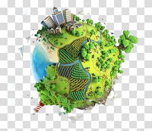 ville et océan sur le thème de la terre animée, Terre, Terre, Terre Verte, protection de l'environnement, matériel Taobao png