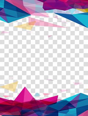 Icône géométrique euclidienne, fond géométrique irrégulier, oeuvre géométrique multicolore png