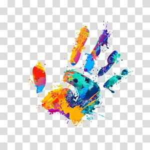 illustration d'impression main multicolore, impression de paume colorée png