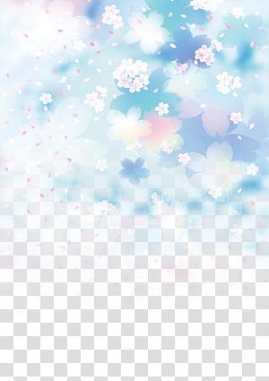 Fleur bleue Fleur bleue Ciel bleu, fond de cerisier Blue Dream, art des fleurs pétalées roses et blanches png