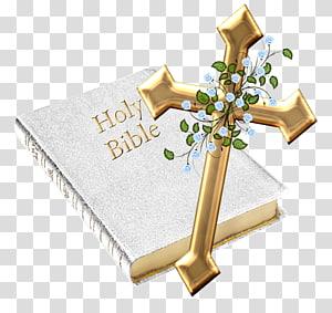 Sainte Bible et croix dorée, Bible Genesis Christian cross, Bible png