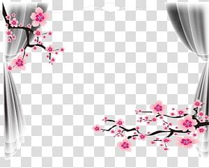 Mariage faites-le vous-même, cadre pour affiche de mariage, illustration de fleurs d'arbres roses et de rideaux gris png