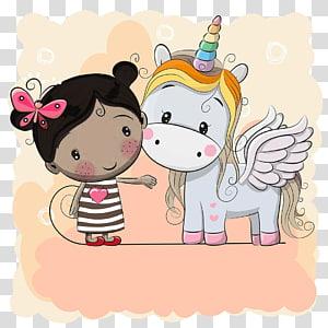 illustration de l'enfant et de la Licorne, dessin de dessin animé de Licorne, unicornio png