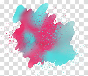 Sarcelle et rose illustration abstraite, peinture aquarelle, pulvérisation de fond graffiti png