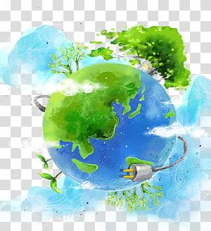 art de la terre bleue et verte, illustration d'affiche de protection de l'environnement, terre environnementale créative png