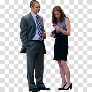 Ordinateur, gens, gens, gratuit, homme, dans, noir, revers, blazer, debout, à côté de, femme, utilisation, smartphone png