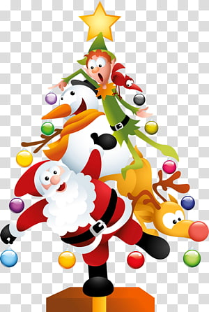 Père Noël arbre de Noël jour de Noël, arbre de Noël drôle, illustration du père Noël png
