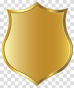 Badge, insigne doré, bouclier doré png