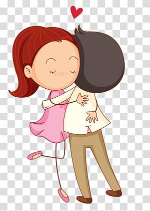 Amour Cartoon Romance Hug, couple de dessin animé, femme et homme étreignant illustration png