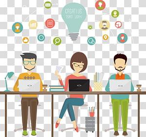 illustration de travail d'équipe créative, icône de partage d'entreprise de planification des ressources d'entreprise, éléments de travail png