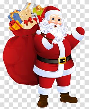 Père Noël Père Noël, Père Noël avec sac de cadeaux, illustration du père Noël png