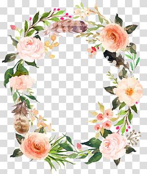 Invitation de mariage fête d'anniversaire douche de bébé douche nuptiale, guirlande de fleurs roses fraîches, art mural floral png