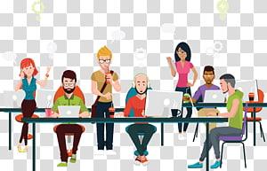 groupe de personnes utilisant un ordinateur portable, Office Coworking Business Illustration, l'équipe de projet au repos FIG. png