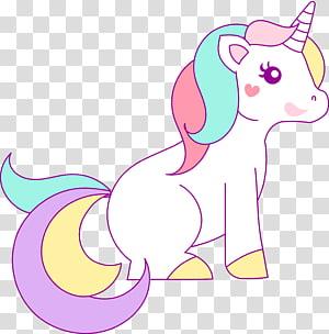 illustration de la Licorne multicolore, dessin de la Licorne Rainbow Créature légendaire, Licorne de nuages png