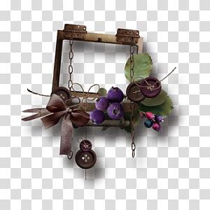 Flèche euclidienne, flèches de couleur à la main, carré brun encadré d'un arc, décor de myrtilles et de boutons png