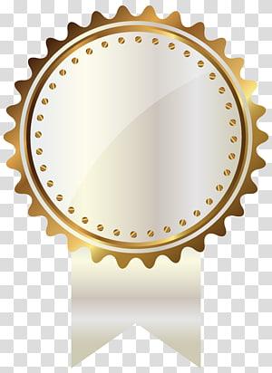 illustration de la médaille d'or, sceau d'or, blanc et or avec ruban png