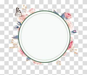 Guirlande de fleurs guirlande, frontières de guirlande fraîche et belle, texture de cadre floral rond blanc et rose png