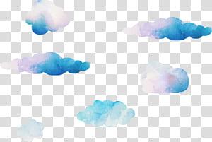 Blue Sky Cloud Computer, nuages aquarelle de rêve, illustration de nuages png