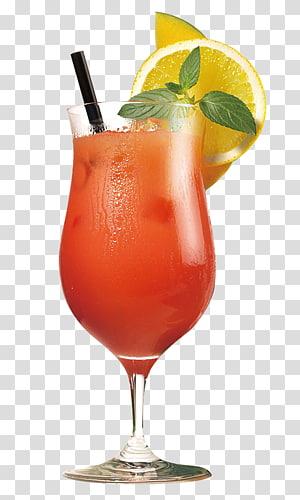 verre à cocktail avec illustration de citron, jus d'orange Cocktail Sex on the Beach Martini, boissons aux fruits png
