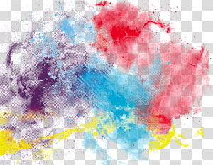 Aquarelle, peinture abstraite à l'encre colorée, rouge, bleu, violet et jaune png