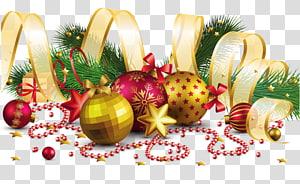 Décoration de Noël Ornement de Noël, Décoration de Noël avec un noeud en or, Illustration d'ornement de Noël png