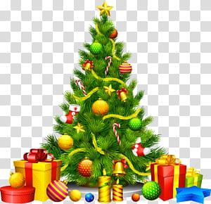 Arbre de Noël ornement de Noël, grand arbre de Noël avec des cadeaux, illustration d'arbre de Noël multicolore png