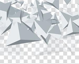 Cône de géométrie euclidienne de triangle, fond abstrait géométrique de cône blanc, triangles gris png