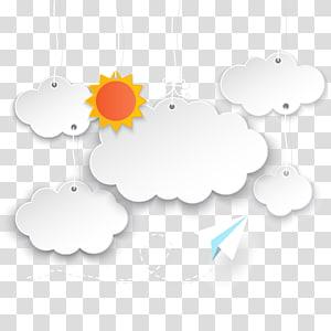 illustration de soleil et nuages, bulle de dialogue Cartoon, avion en papier fond nuage png