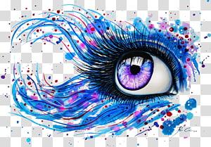 oeil pourpre, peinture aquarelle art abstrait dessin oeil, dans mes yeux png