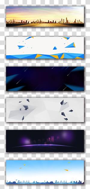 Bannière Web Affiche publicitaire Publicité, arrière-plan, six peintures sur toile png