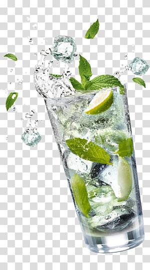 Verre à boire clair avec tranches de citron vert à l'intérieur, Mojito Cocktail Garnish Gin and tonic Vodka tonic, mojito png