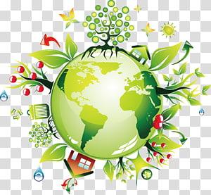 Illustration de planète multicolore, Terre verte respectueuse de l'environnement, Terre environnementale png