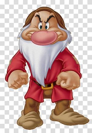 Illustration de gnome de Disney, Blanche-Neige Sept Nains Grumpy Dopey Bashful, Nain png