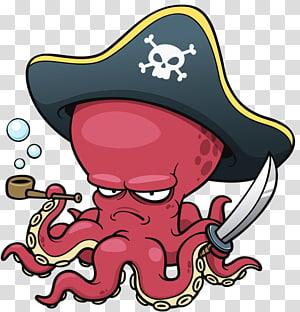 illustration de pirate poulpe, Cartoon Octopus, Octopus Pirate png