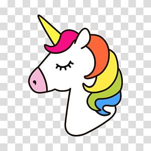 illustration de licorne blanche et multicolore, dessin de cheval licorne, licorne png
