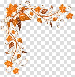 Couleur des feuilles d'automne, Décoration d'automne, cadre de feuilles orange png