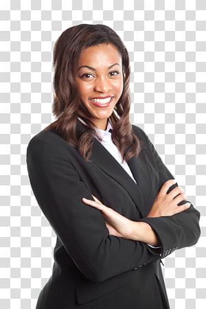 femme souriante portant une veste de costume châle noir, homme d'affaires femme, femme noire png