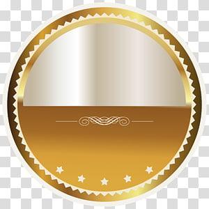 Insigne, insigne or et sceau blanc, logo rond jaune et gris png