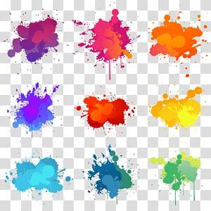 Illustration de peinture Illustration, arrière-plan d'éclaboussure de pigments, éclaboussures de couleurs assorties png