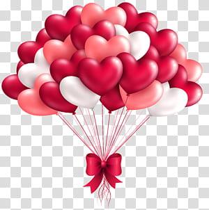 Balloon Heart, Beautiful Heart Balloons, illustrations numériques de ballon coeur blanc, rose et rouge png
