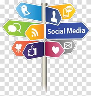 illustration de poteau de signalisation d'application de médias sociaux, publicité en ligne marketing, publicité png