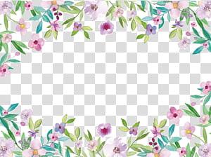 Aquarelle, fleurs aquarelles petites bordures fraîches, floral rose png