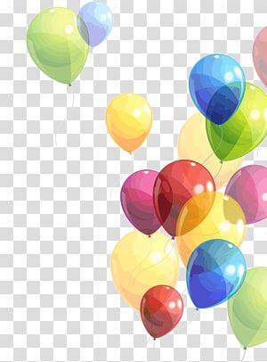 Anniversaire de ballon, ballon, illustration de ballons de couleurs assorties png
