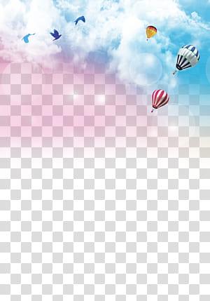 Cérémonie de graduation affiche papier recrutement, fond de ciel coloré, illustration de ballon à air chaud png