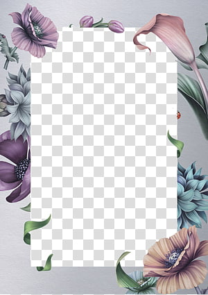 Invitation de mariage papier idée, bordure de belles fleurs, illustration de fleurs roses et bleues png