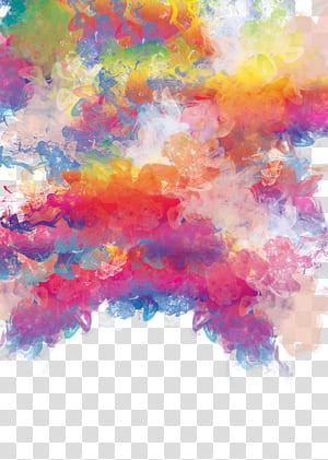 Peinture à l'aquarelle, matériau pour ombrage à l'aquarelle de couleur, peinture abstraite jaune, orange et rose png
