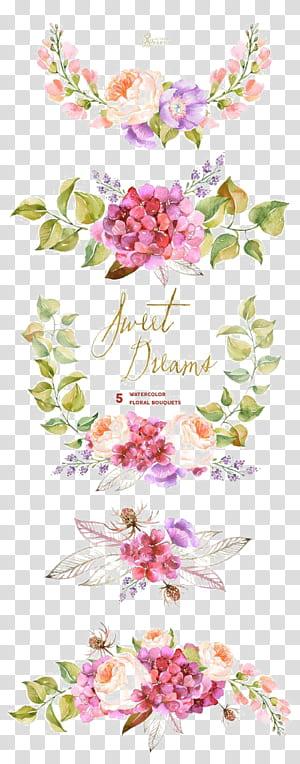 Bouquet de fleurs Aquarelle, invitation de mariage, bordure de fleurs aquarelle, illustration de fleurs roses et violettes png
