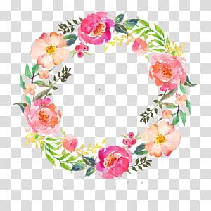 Guirlande de fleurs aquarelle Peinture aquarelle guirlande, guirlande de fleurs aquarelle, rose, verte et rouge png