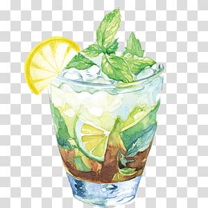 Verre à liqueur autocollant, jus de thé glacé Jus Illustration de cocktail, thé à la menthe citronnée png