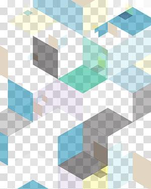Abstraction euclidienne de dégradé de géométrie, bloc de dégradé géométrique abstrait, bleu, vert et marron png